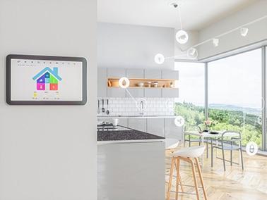 Kök med ikoner som visar säkerhetssystemen i rummet